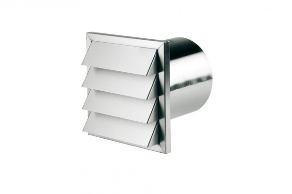 Wall vent, connector depth: 145 mm, system 150, 190x190 mm, tube ›100 mm, stainless steel