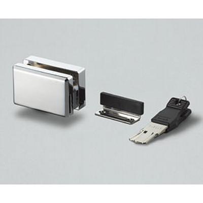 Lock for inset swinging glass door, left, chrome