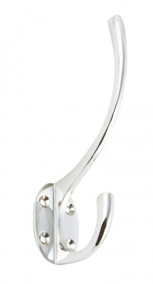 Hat & coat hook, traditional, brass, 73x134 mm, face fixing, chrome