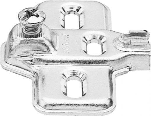 MODUL mounting plate, cruciform, 0 mm, steel, SCREW-ON, elongated hole, nickel