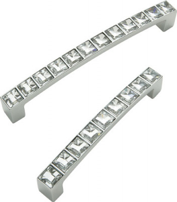 D pull handle, zinc alloy, fixing centres 128 mm, crystal, chrome
