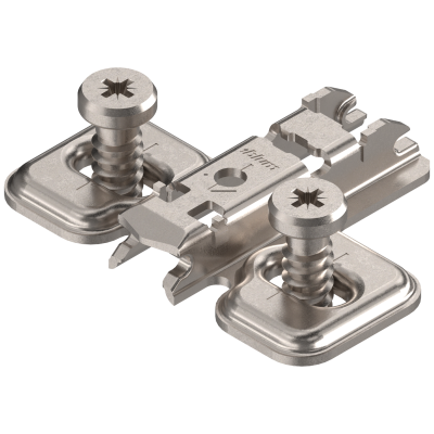 CLIP mounting plate, cruciform (28/32 mm), 0 mm, steel, system screws, elongated hole, NP