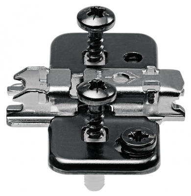CLIP mounting plate, cruciform, 0 mm, steel, EXPANDO, cam adjustable, onyx black