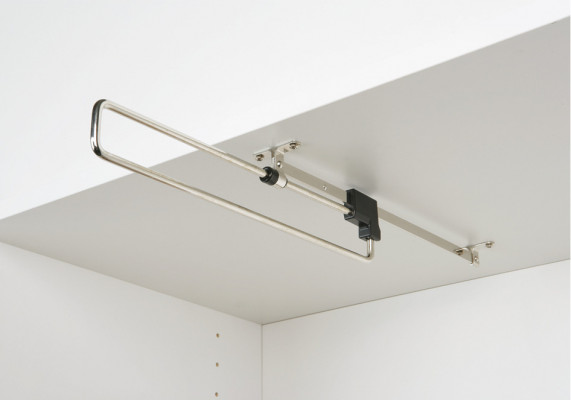 Pull-out wardrobe rail, L=410 mm, centre=381 mm, load capacity 4 kg, nickel