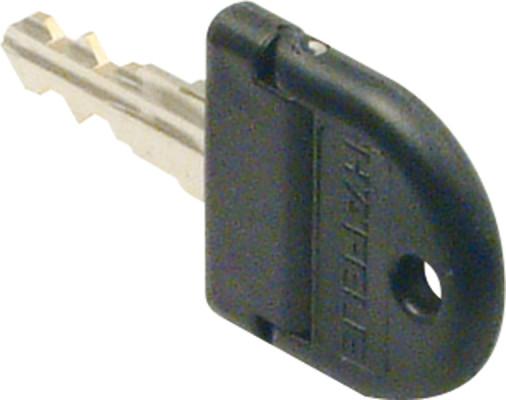 Key, for master key cylinder core, symo 3000, folding key, black plastic cap