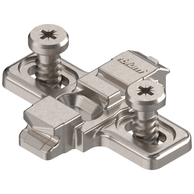 CLIP mounting plate, cruciform, 0 mm, SYSTEM SCREW, elongated hole, nickel