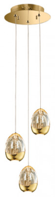 Ceiling pendant, adjustable, LED, IP20, 3 Light, Terrene, mains voltage, gold