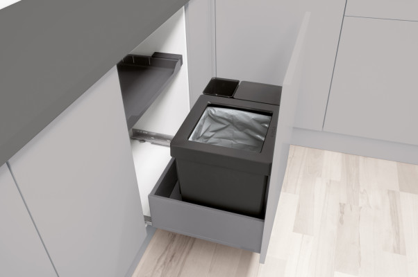Oeko kitset for Legrabox, CW=512-568 mm, 47 litre (1x40, 1x6, 1x1.2 litre), WESCO, grey