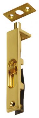 Furniture bolt, flush, length 76 mm, brass, for flush mounting in door edge, polished