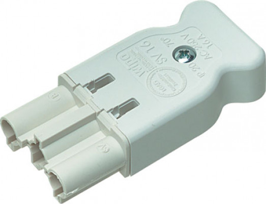 Screw on plug, male & female connectors, white, male