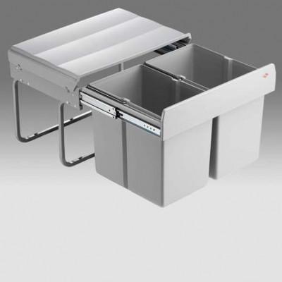 Shorty waste bin, 30 Litre (2x 15Litre), CW=500 mm, WESCO, light grey