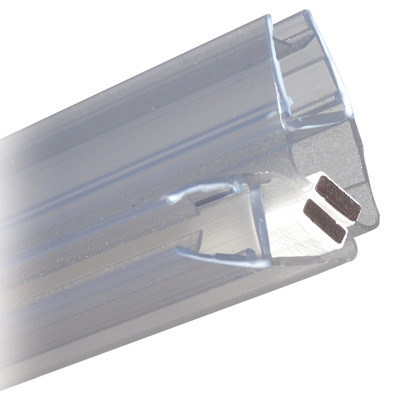 Shower seal, magnetic seal 90ø, L=2010 mm, for toughened glass 6-8 mm thick, transparent