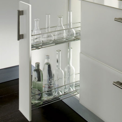 Pull out storage unit, two tier, cabinet width 150 mm, dynamic soft close runners, right