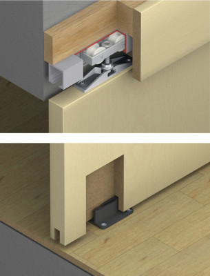 Fitting set, for sliding interior doors, Hawa-Junior 40/Z, top hung system, 1 door