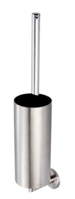 De L'eau Wall Mounted Toilet Brush & Holder in satin stainless steel