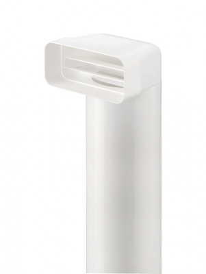 Deflector, with tube, plastic, system 125, 82 x 174 mm, L=500 mm, white