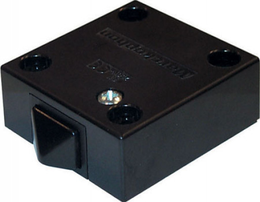 Built in switch, with universal push button, 2 a/240 v ac , black