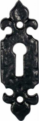 Escutcheons, fleur de lys, standard keyway, malleable iron, kirkpatrick, black antique