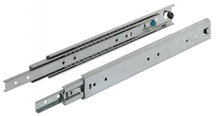 Ball bearing drawer runner, full extension, capacity 70 kg, 1000 mm, zinc
