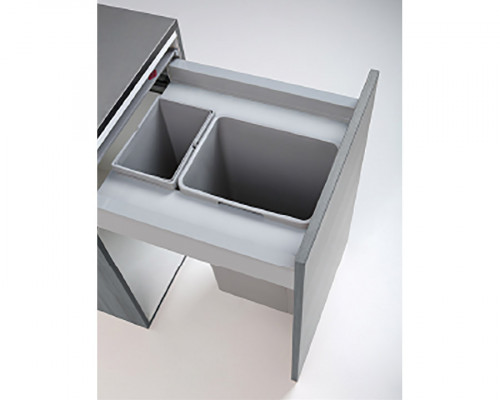 Pullboy Z bin, lid & frame for LEGRABOX, CW=500 mm, 58 litre (2x29 litre), WESCO, grey