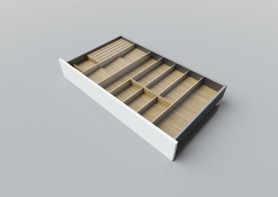 Cutlery divider for LEGRABOX/TA'OR C=850-1050 mm, NL=500 mm, oak