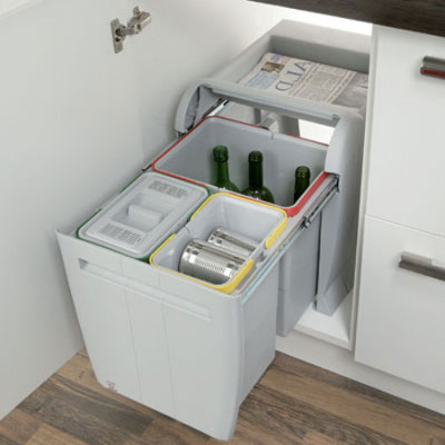 Pull out waste bin, hinged door cabinets, 2x 8 & 1x 18 litres, cabinet width min. 450 mm