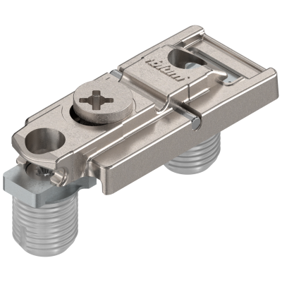 CLIP mounting plate, straight (20/32 mm), 0 mm, zinc, KNOCK-IN, cam mounting, nickel
