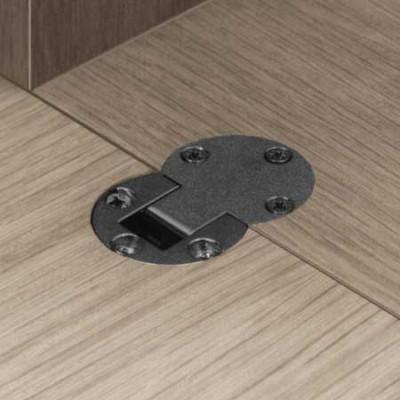 Flap hinge, 90ø plano medial, zinc alloy, dim x: 16 mm, nickel
