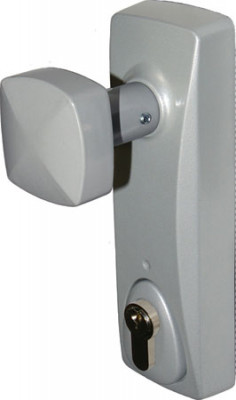 Outside access device, with knob & euro profile cylinder, silver
