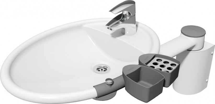 Height adjust fittings, accessory kit, ropox, use with ropox swing washbasin, grey