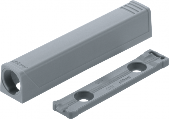 TIP-ON adapter plate for doors,long version, straight (20/32 mm), grey