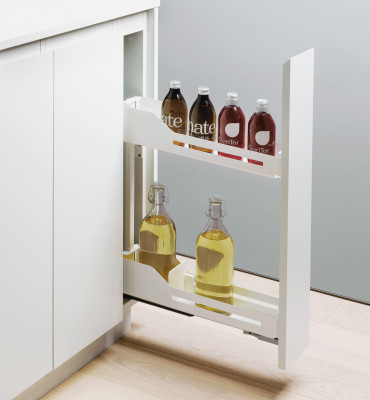 Bottle rack, SNELLO LIBELL, soft close, NL=475 mm, H=520 mm, CW=150 mm, PEKA, white