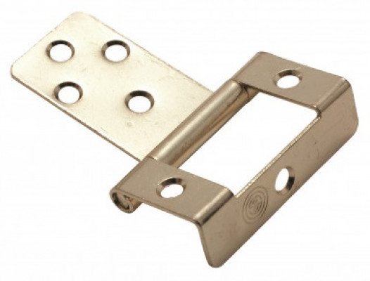 Single cranked flush hinge with plain pin, 19 mm, brass
