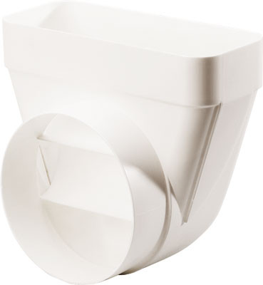 Deflector, white plastic, system 125/150, system 150, heightxwidth 94x227 mm, ø 150 mm