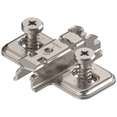 CLIP mounting plate, cruciform, 3 mm, steel, system screws, elongated hole, nickel
