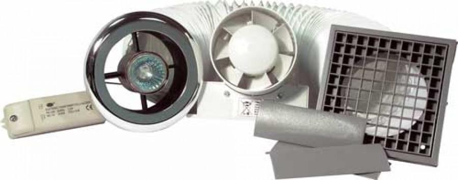 Extractor fan set, 35W/12V, shower lite, 23 litres per second, timer version, chrome