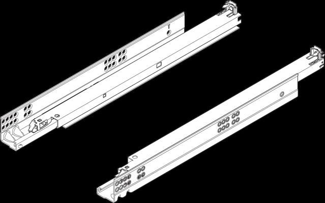 TANDEM plus TIP-ON, full extension, 50 kg, NL=700 mm,  left+right, ZN