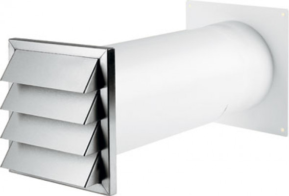 Wall vent system, stainless steel, with blind, system 125/150, system 125, tube ø 150 mm