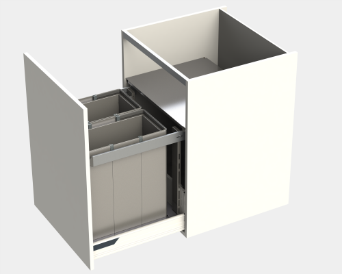 Door fitted bin LEGRABOX, lid & frame, KINGSIZE, CW=600 mm, 88 litre (2x44 litre), grey