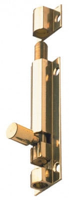 Barrel bolt, straight or necked, width 32 mm, brass, straight, 102x32 mm, polished