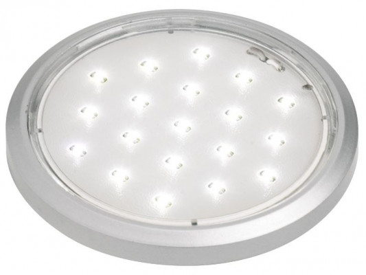 LED flat round undercabinet light, 12V/1.4W, D=58 mm, TOP, satin silver, cool white 5000 K