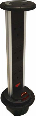 Vertical powerdock, IP54, 3 x UK 13 amp sockets, requires Ø 92 mm drilled hole, black