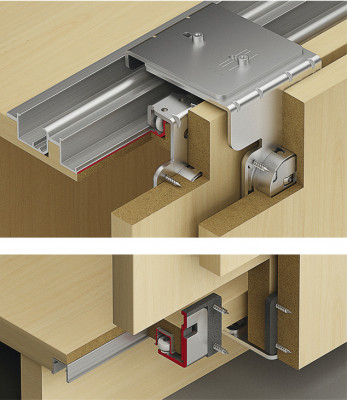 Top hung system, fitting set, 2 sliding doors, Slido classic IF40, with soft close