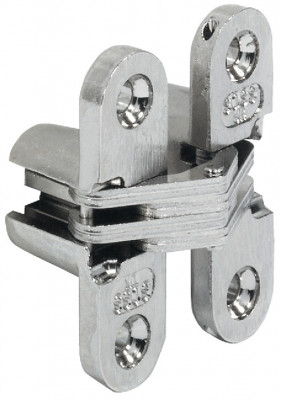 Soss hinge, concealed mortice, model: 101, zinc alloy body, steel links, nickel