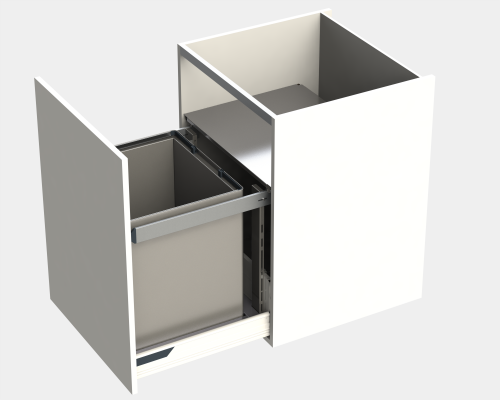 Door fitted bin LEGRABOX, lid & frame, KINGSIZE, CW=600 mm, 90 litre (1x90 litre), grey