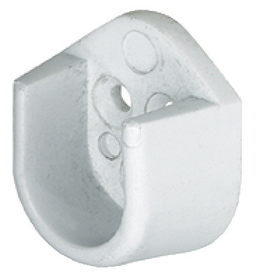 Oval wadrobe rail end support, 15 mm wide, screw fixing, white
