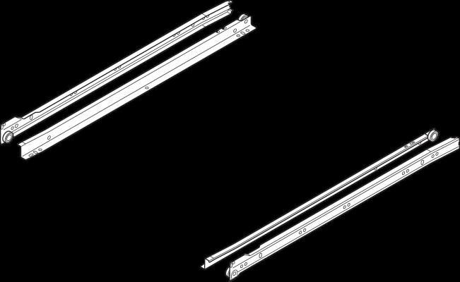 STANDARD roller runner, single extension, 25 kg, NL=350 mm, left+right, cream/white