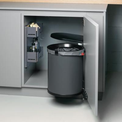 MULLBOY 1, 30 litre, hinged bin, H=500 mm, Diameter=Ø 340 mm, anthracite