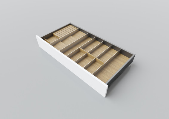 Cutlery divider for LEGRABOX/TA'OR C=850-1050 mm, NL=450 mm, oak