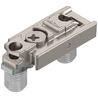 CLIP mounting plate, straight (20/32 mm), 3 mm, zinc, KNOCK-IN, cam mounting, nickel